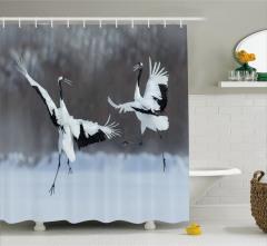 Turna Temalı Duş Perdesi Beyaz Siyah Kuş Doğa Şık