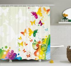 Kelebek ve Damla Desenli Duş Perdesi Rengarenk Şık