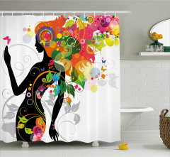 Rengarenk Saçlı Kız Desenli Duş Perdesi Şık Tasarım