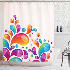 Rengarenk Damla Desenli Duş Perdesi Çeyizlik Şık