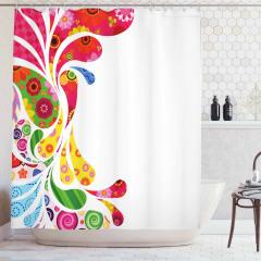 Damla ve Çiçek Desenli Duş Perdesi Şık Tasarım Trend