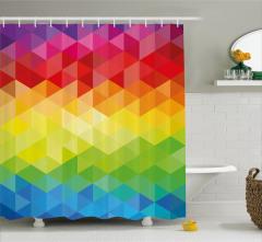 Rengarenk Üçgen Desenli Duş Perdesi Şık Tasarım
