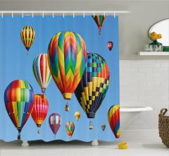 Uçan Balon Temalı Duş Perdesi Rengarenk Gökyüzü