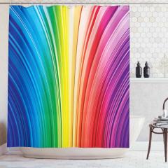 Rengarenk Çizgili Duş Perdesi Geometrik Desenli Şık