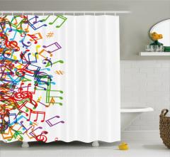 Rengarenk Nota Desenli Duş Perdesi Müzik Beyaz Zemin