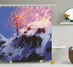 Karlı Orman Temalı Duş Perdesi Gri Kış Şık Tasarım