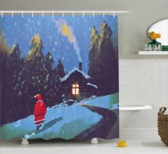 Noel Baba ve Kış Gecesi Temalı Duş Perdesi Mavi Kar
