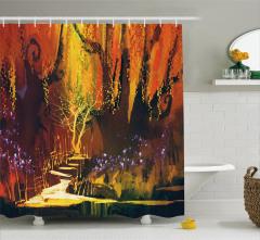Perili Orman Temalı Duş Perdesi Turuncu Ağaç Yaprak