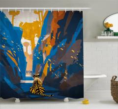 Kaplan Desenli Duş Perdesi Mavi Turuncu Şık Tasarım