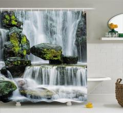 Doğa Harikası Şelale Manzaralı Duş Perdesi Dekoratif