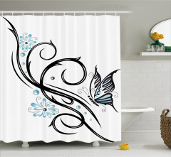 Kelebek ve Çiçek Desenli Duş Perdesi Siyah Mavi