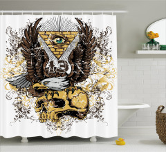 Kuru Kafa ve Kartal Desenli Duş Perdesi Ters Piramit