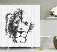 Dekoratif Gri Aslan Desenli Duş Perdesi Beyaz Fonlu