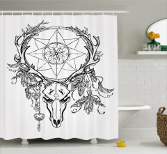 Geyik Kafatası Desenli Duş Perdesi Yıldız ve Çiçekli