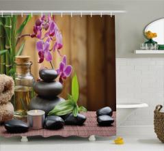 Feng Shui Temalı Duş Perdesi Siyah Taş ve Orkideli