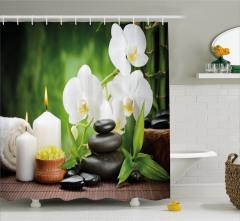 Orkide Mum ve Taş Temalı Duş Perdesi Spa Efektli