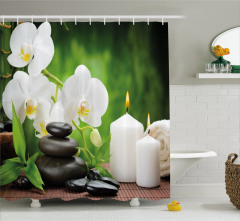 Yeşil Spa Temalı Duş Perdesi Taş Orkide ve Mumlu