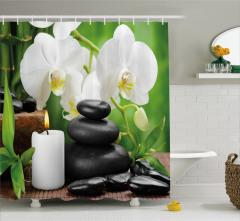 Taş Orkide ve Mum Temalı Duş Perdesi Spa Efektli