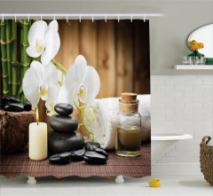 Siyah Taş ve Beyaz Orkide Temalı Duş Perdesi Şık