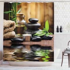 Siyah Taşlar ve Bambu Temalı Duş Perdesi Su Efektli