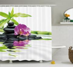 Mor Orkide ve Siyah Taş Temalı Duş Perdesi Dekoratif