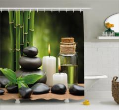 Bambu Taş ve Mum Temalı Duş Perdesi Şık Dekoratif