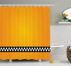 Şık Sarı Desenli Duş Perdesi Siyah Beyaz Şeritli