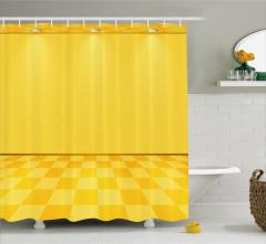 Spot Lambalı Sarı Desenli Duş Perdesi Damalı Efektli