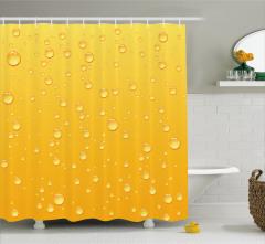 Su Damlaları Desenli Duş Perdesi Sarı Arka Planlı