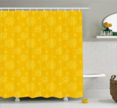 Girdap Güneş Desenli Duş Perdesi Sarı Arka Planlı