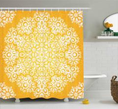 Sarı Fonlu Beyaz Çiçek Desenli Duş Perdesi Dekoratif