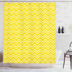 Sarı Beyaz Zikzak Desenli Duş Perdesi Şık Tasarım