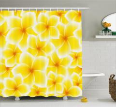 Sarı Beyaz Çiçek Desenli Duş Perdesi Şık Çeyizlik