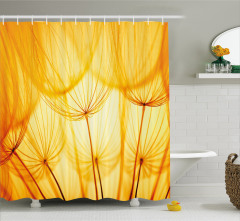 Dekoratif Sarı Çiçek Desenli Duş Perdesi Ağ Efektli