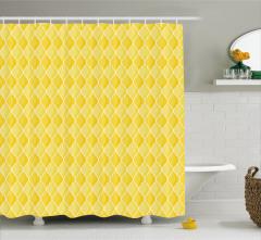 Sarı Duvar Kağıdı Desenli Duş Perdesi Limon Formlu