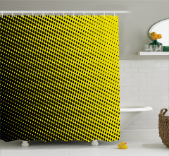 Siyah Puantiyeli Desenli Duş Perdesi Sarı Arka Plan