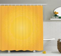 Sarı Beyaz Puantiye Desenli Duş Perdesi Güneş Etkili