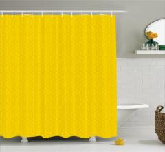 Çiçekli Duvar Kağıdı Desenli Duş Perdesi Sarı Fon