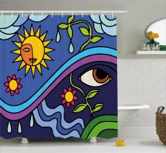 Güneş ve Çiçek Desenli Duş Perdesi Lacivert Mavi