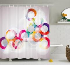Rengarenk Çember Desenli Duş Perdesi Işık Efektli