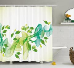 Yaprak ve Kurdele Desenli Duş Perdesi Yeşil Mavi