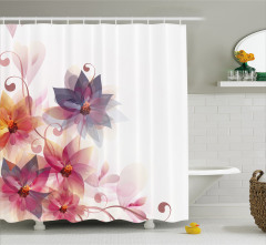 Turuncu Mor Çiçek Desenli Duş Perdesi Beyaz Fonlu