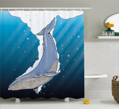 Şık Deniz ve Balina Desenli Duş Perdesi Mavi Beyaz