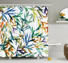 Rengarenk Bambu Desenli Duş Perdesi Şık Dekoratif