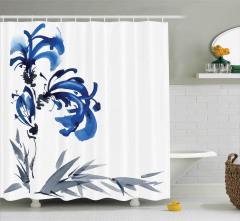 Gri Mavi Çiçek Desenli Duş Perdesi Şık Dekoratif