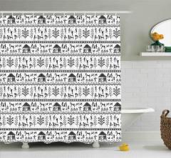 Antik Çiftçi Hayvan Desenli Duş Perdesi Siyah Beyaz
