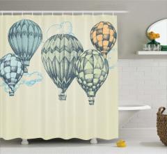 Nostaljik Balon Desenli Duş Perdesi Bej Şık Tasarım