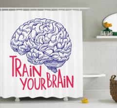 İnsan Beyni Desenli Duş Perdesi Kırmızı Siyah Beyaz