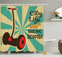 Nostaljik Reklam Temalı Duş Perdesi Scooter Mavi Bej