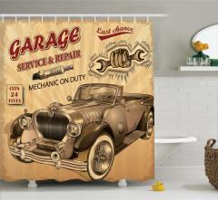 Nostaljik Araba Desenli Duş Perdesi Kahverengi Şık